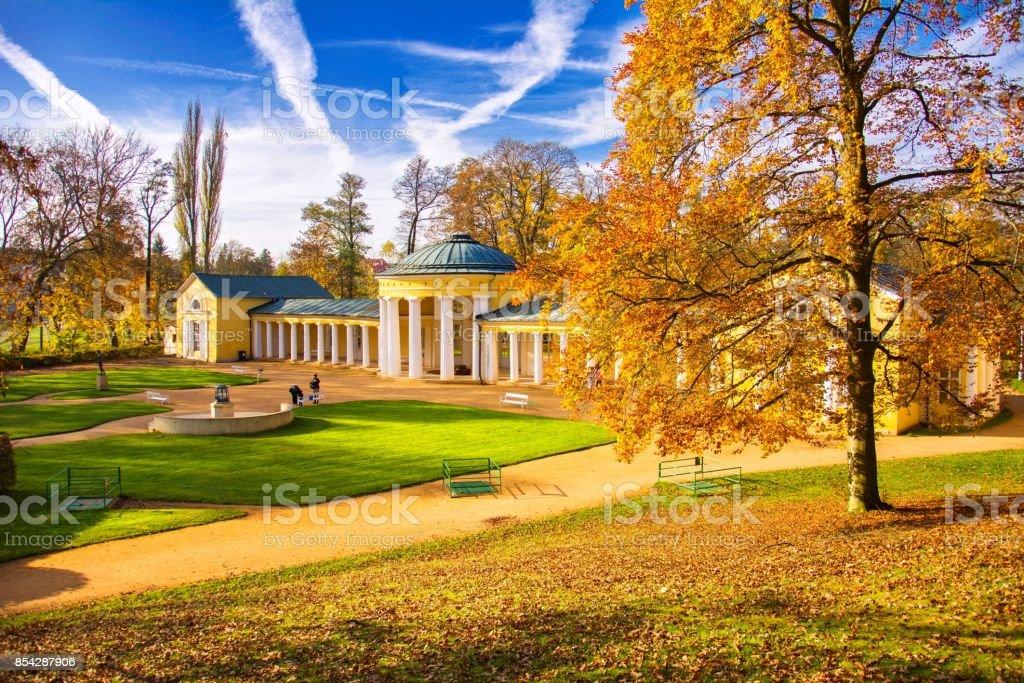 Pavilion of mineral water spring Ferdinand - Marianske Lazne (Marienbad) stock photo