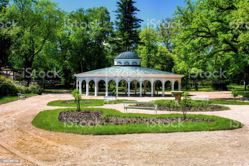 Pavilion of mineral water spring - spa town Frantiskovy Lazne (Franzensbad) stock photo