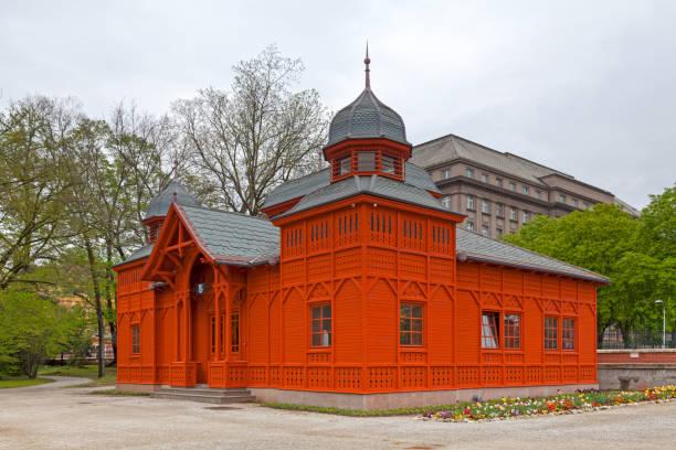 Pavilion of the Zagreb Botanical Garden stock photo