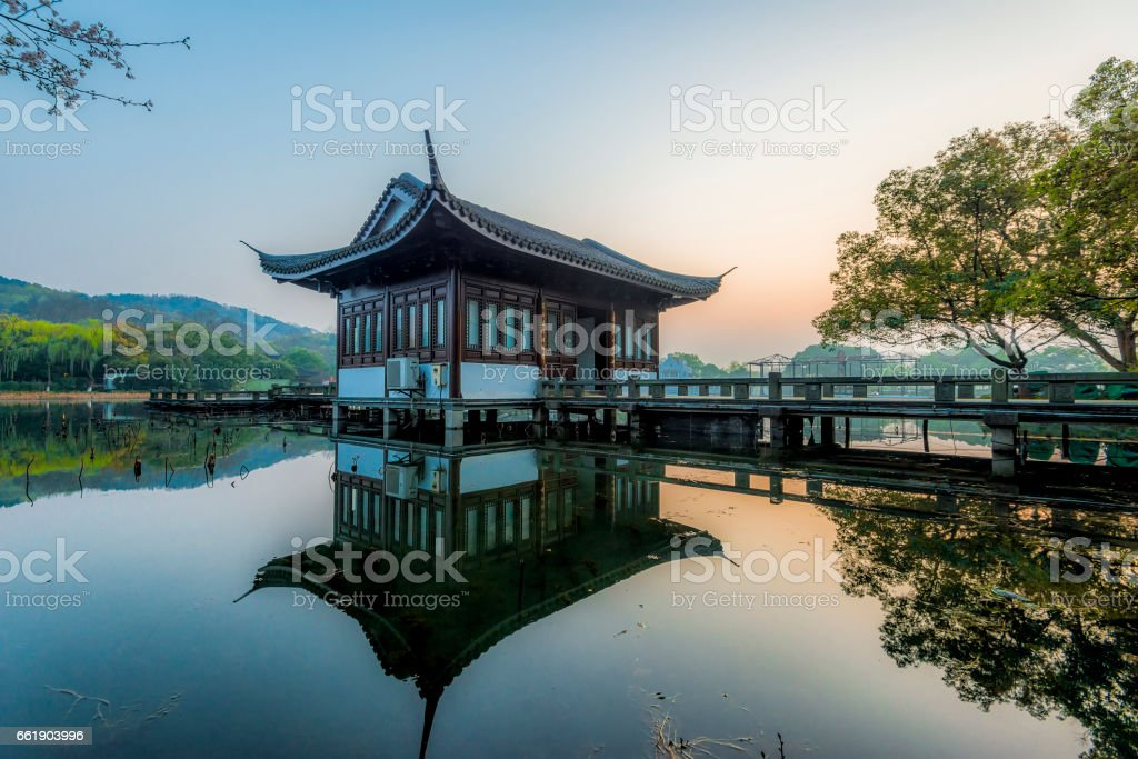 Pavilion on West Lake,hangzhou,zhejiang stock photo