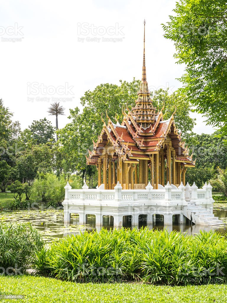 pavilion Thai style in center of water royalty-free stock photo