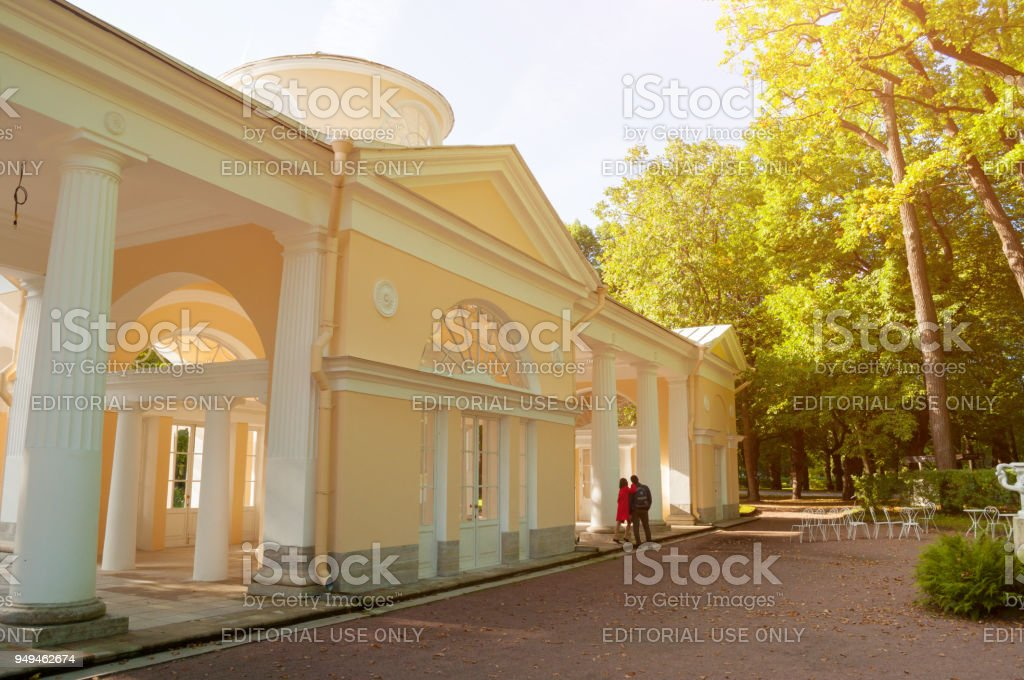 Pavilion Voliere building in Pavlovsk near St Petersburg, Russia stock photo