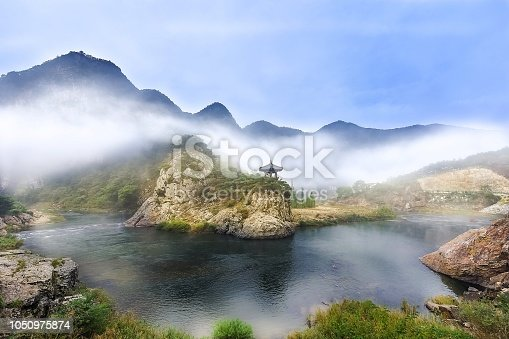 It's very beautiful lake landscape with clouds at Whanggan of ChungBuk in Korea. There is a pavilion as named WollyBong.