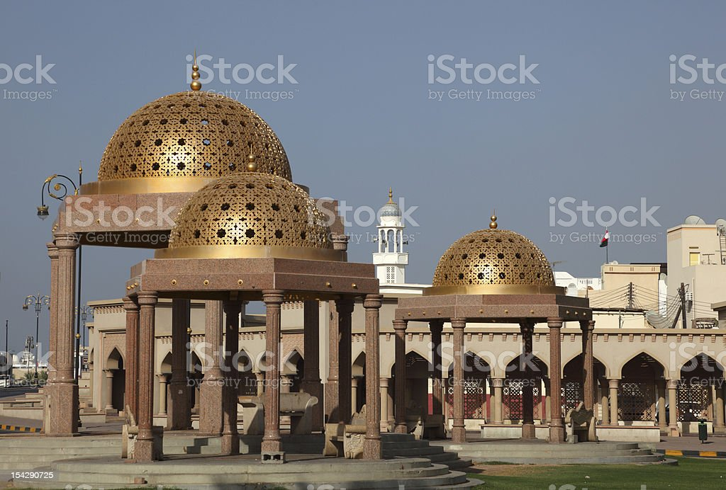Pavilions in Muttrah, Sultanate of Oman stock photo
