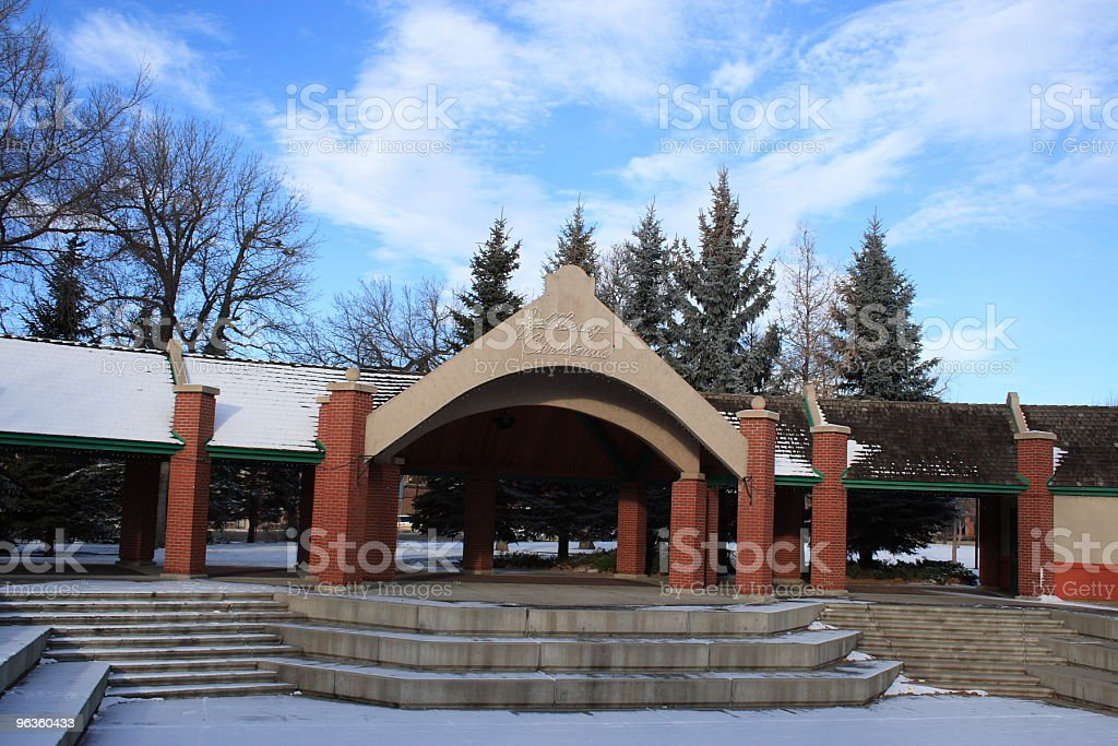 Pavillion and walkway in winter 'Merry Christmas' royalty-free stock photo