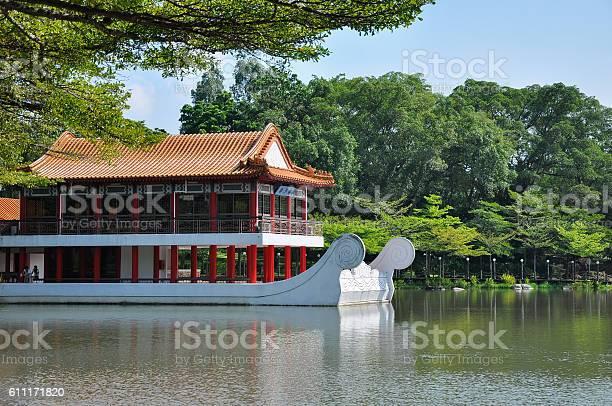 Pavillion beside water in Chinese Garden/Jurong Garden