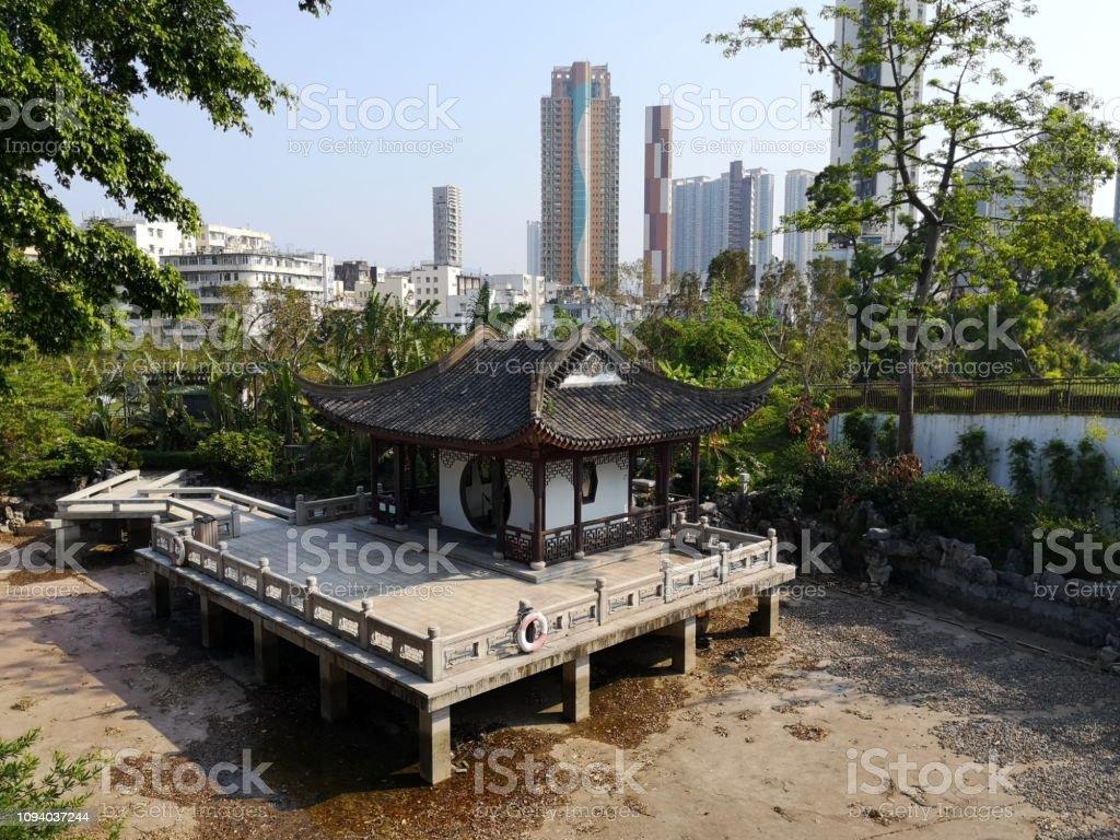 Pavillion in Kowloon walled City park, Hong Kong stock photo