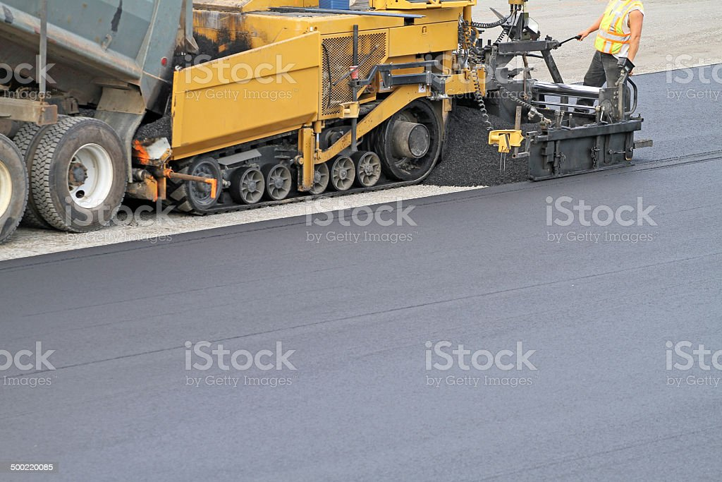 Paving A Parking Lot stock photo