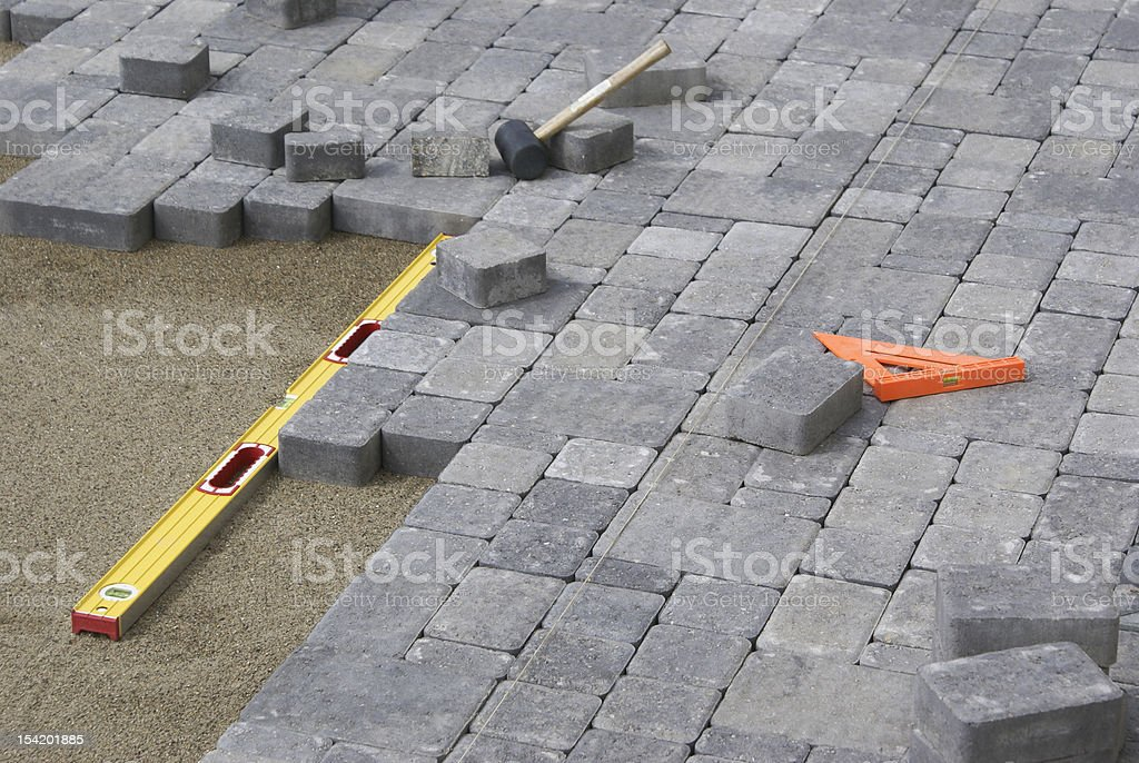 Paving Backyard Patio stock photo
