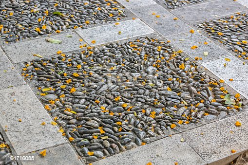 Textured autumn background from paving of small pebbles and stones with fallen yellow flower petals