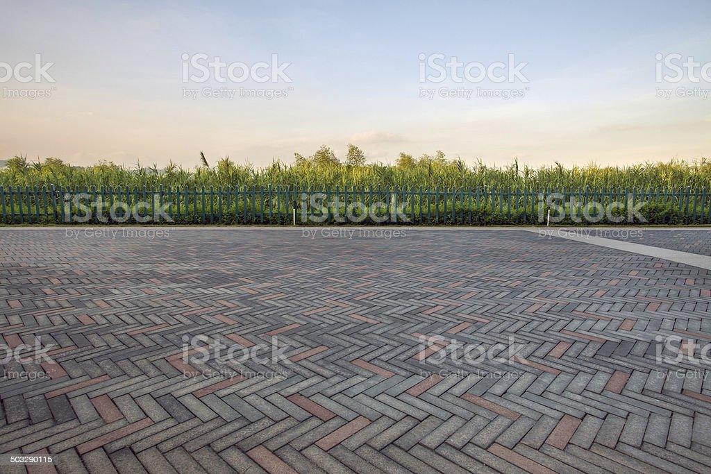 paving stone driveway stock photo
