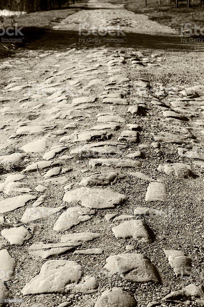Paving stone road stock photo