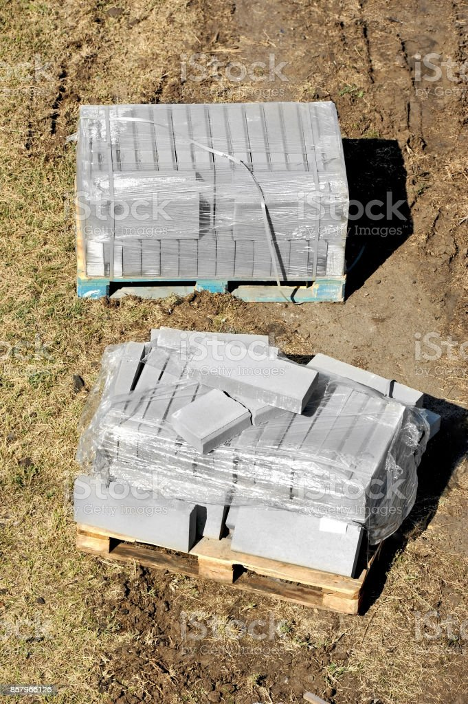 Paving stone stack stock photo