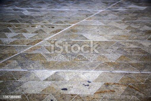 Paving stones on the ground, detail of pedestrian walk