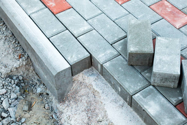 Paving the footpath stock photo