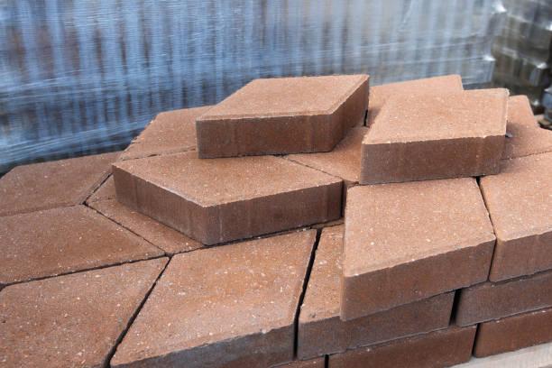 paving tiles warehouse stock photo