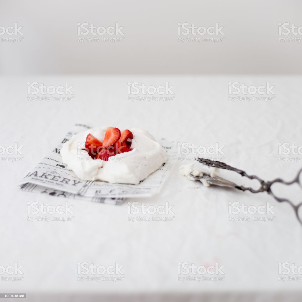 Pavlova cake from aquafaba (name for the viscous water in which legume seeds such as chickpeas have been cooked) stock photo