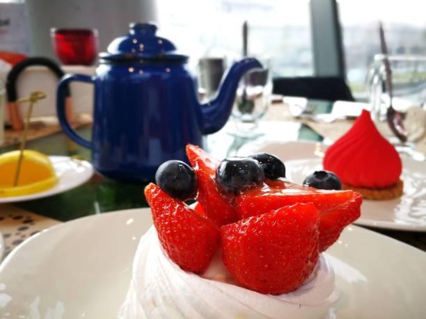 Pavlova dessert in Russia stock photo