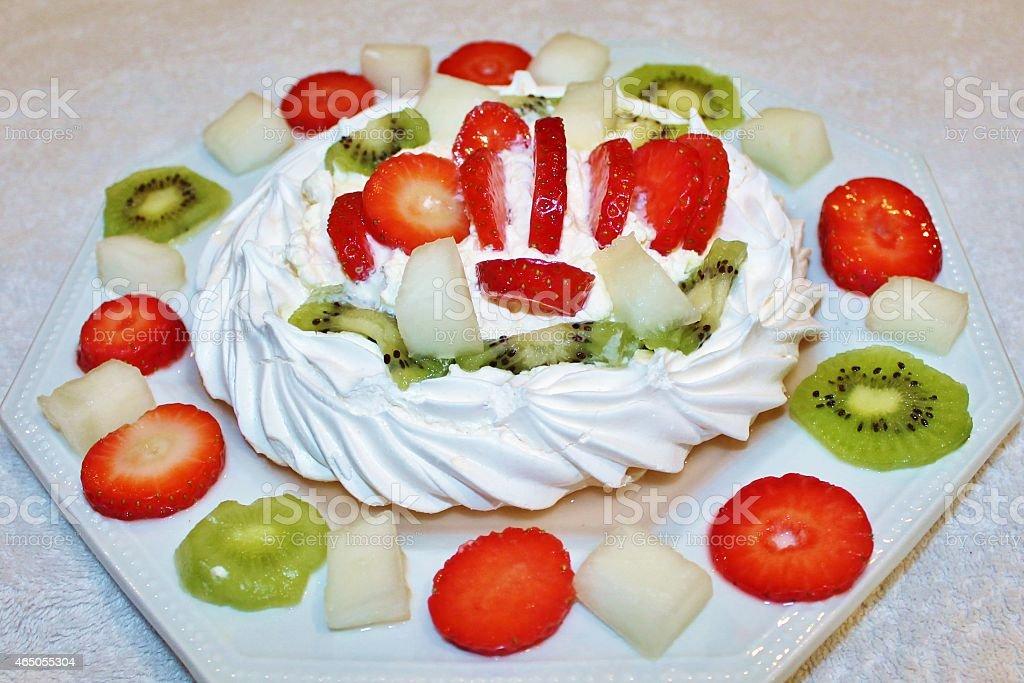 Pavlova dessert. stock photo