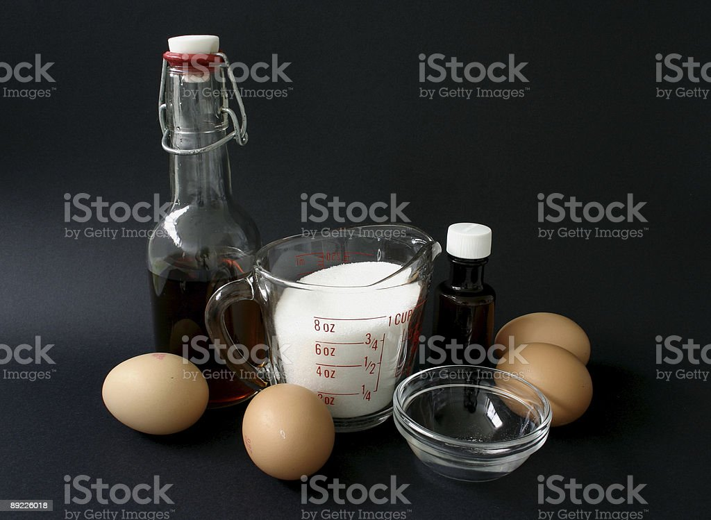 Pavlova Ingredients Eggs Sugar Vinegar Vanilla stock photo