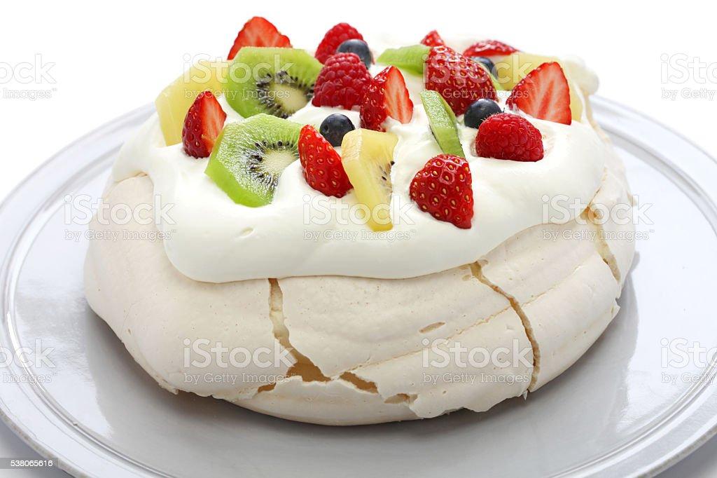 pavlova, meringue cake stock photo