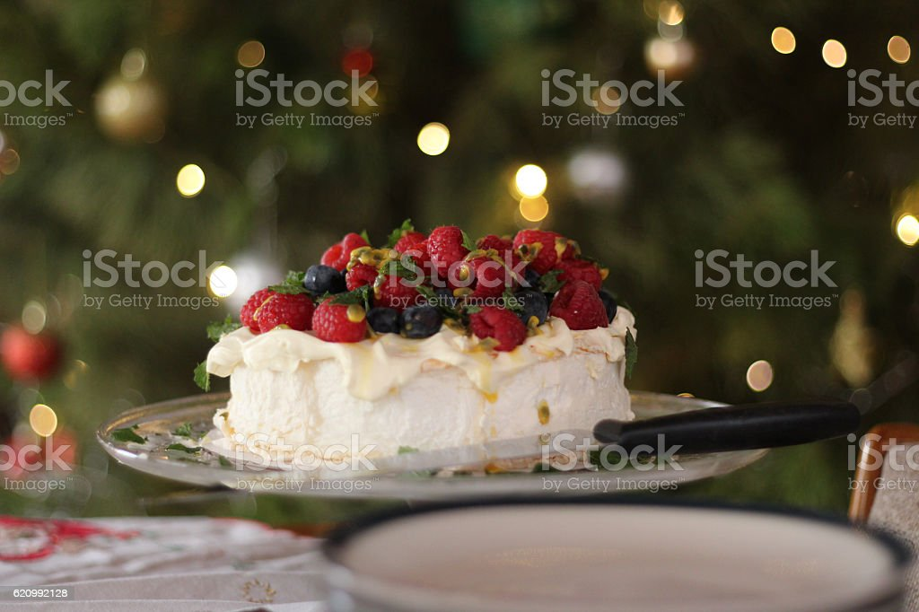 Pavlova with berries and passionfruit at Christmas time