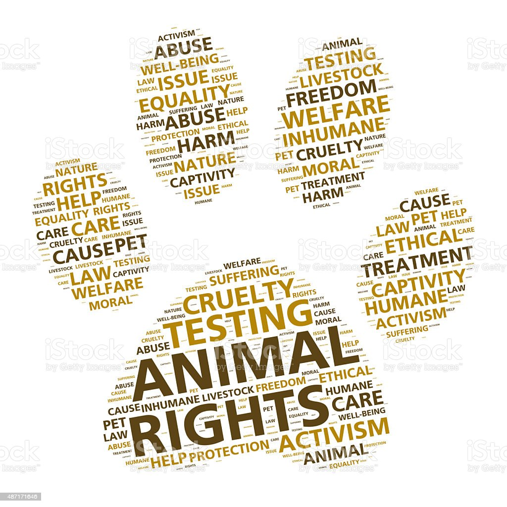 Paw print word cloud for animal rights and ethical treatment stock photo