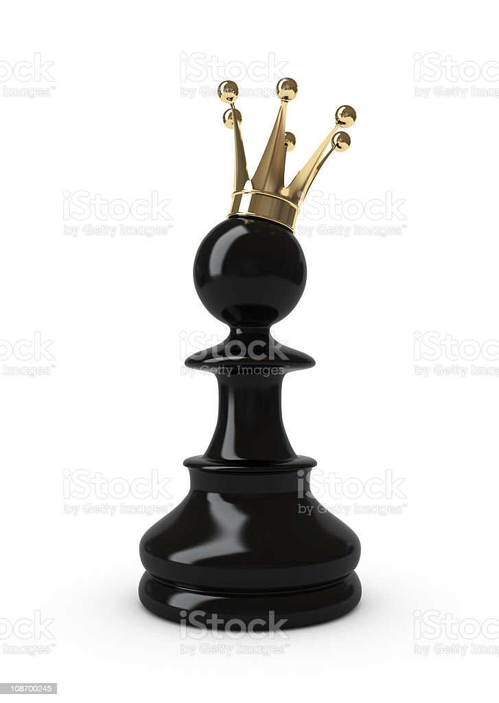 Pawn in a crown. stock photo