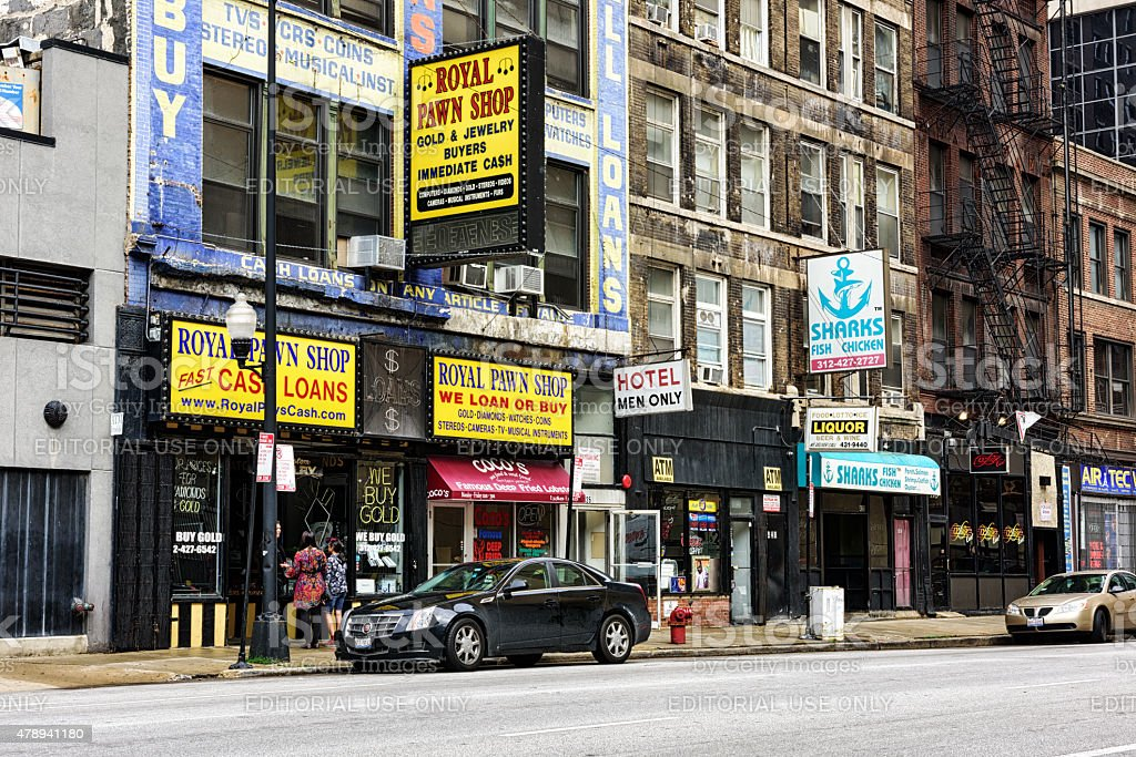 Pawn shop and Men only hotel, South Clark Street, Chicago stock photo