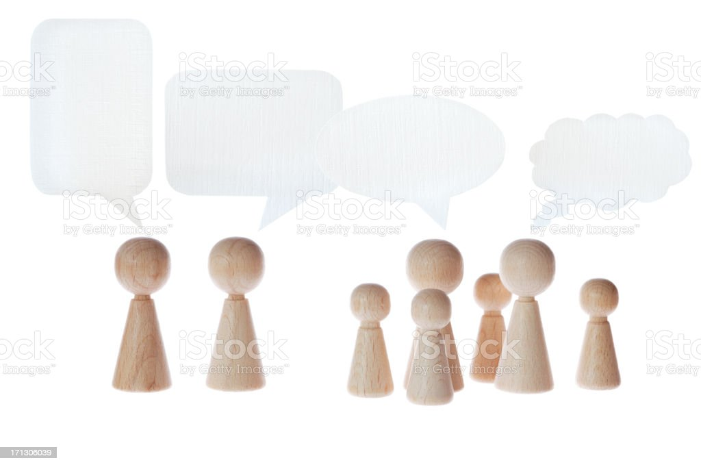 pawns with speech bubbles stock photo