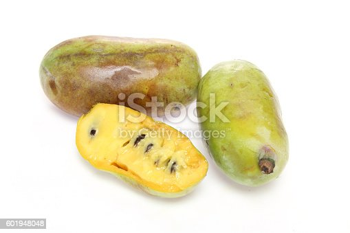 Pictured pawpaws in a white background.