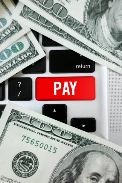 Pay button stock photo