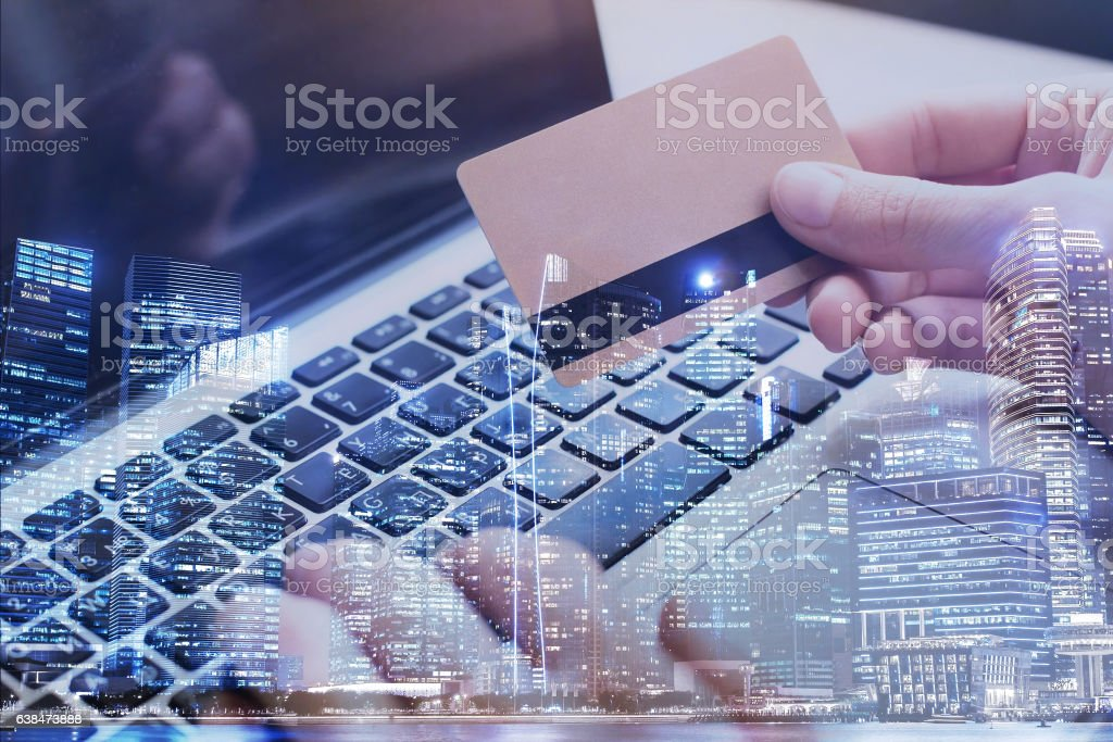 pay by card online on internet stock photo