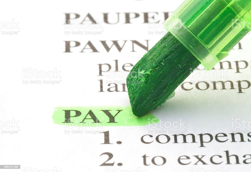pay definition highlighted green in dictionary royalty-free stock photo