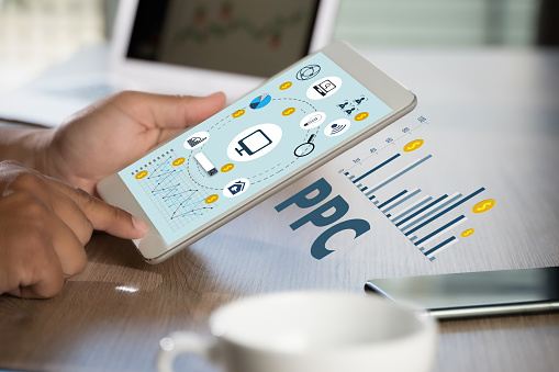 PPC - Pay Per Click concept Businessman working concept ppc