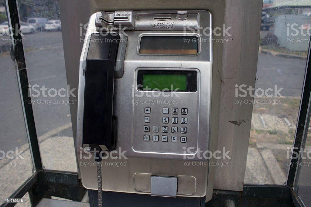 Pay Phone on Street Corner stock photo