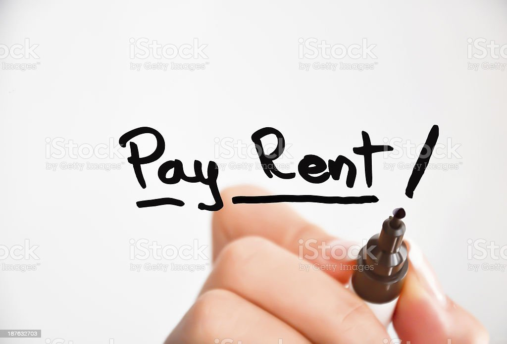 pay rent text stock photo