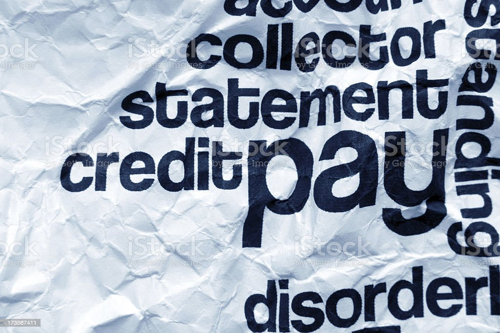 Pay text on crinkled paper royalty-free stock photo