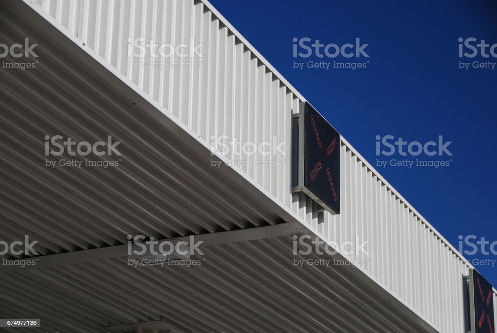 Pay toll with X sign stock photo