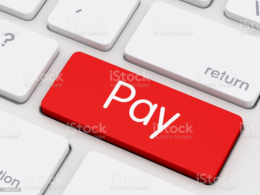 Pay writing on Keyboard stock photo