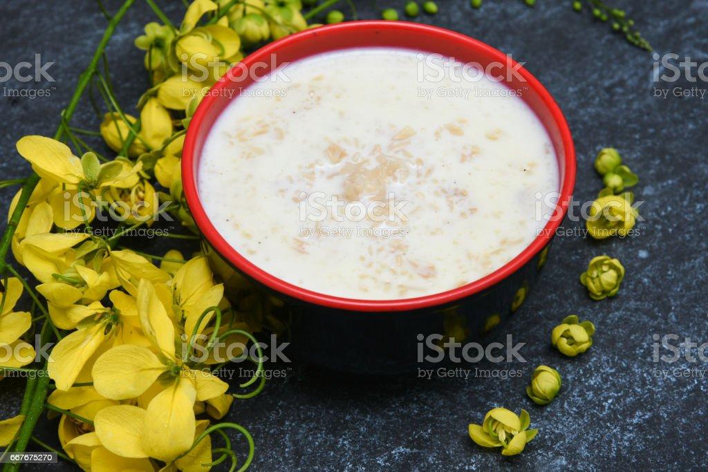 Payasam sweet dish Kerala festival Onam Vishu South India stock photo