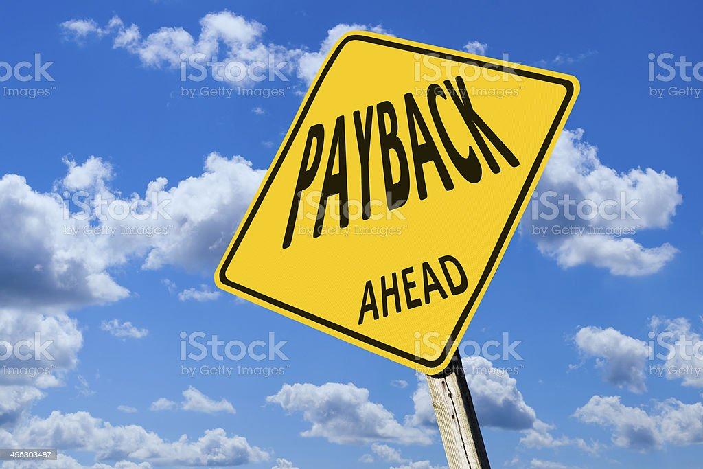 Payback à frente estrada sinal de alerta - foto de acervo