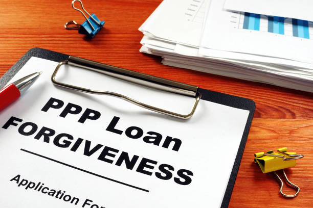 Paycheck Protection Program PPP Loan forgiveness application form. Paycheck Protection Program PPP Loan forgiveness application form. loan stock pictures, royalty-free photos & images