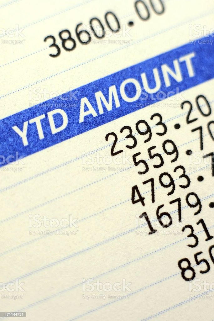 Paycheck with Taxes Deducted - Close Up Photo stock photo
