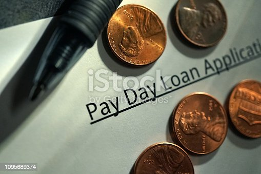 shot of a payday loan application