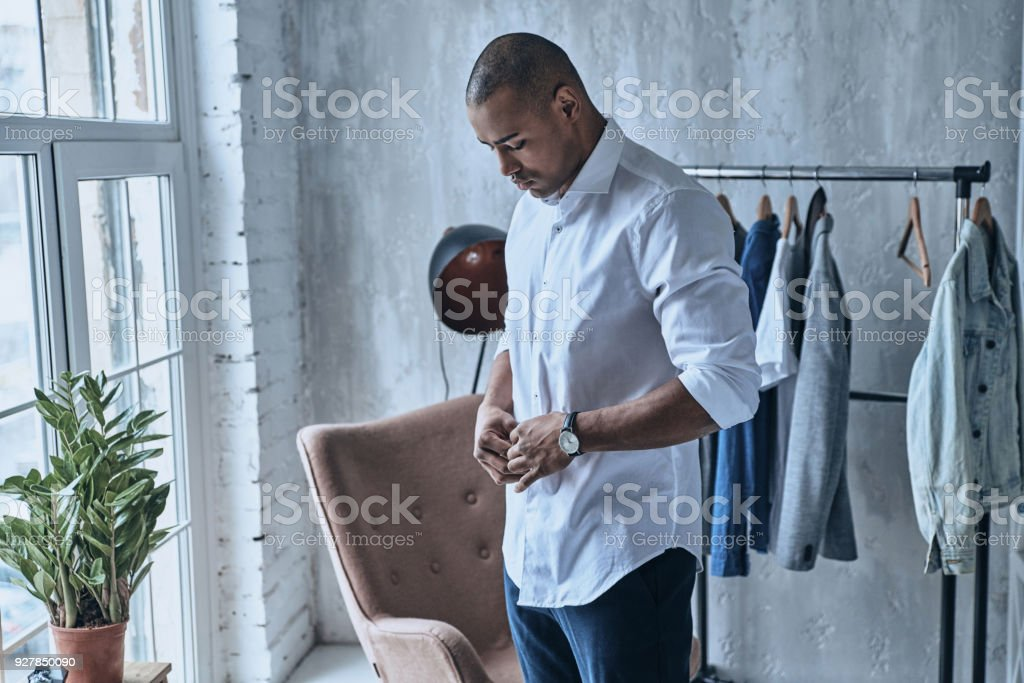 Paying attention to every detail. stock photo
