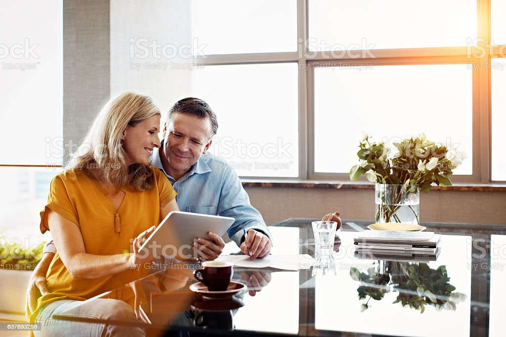 Paying bills has never been easier stock photo