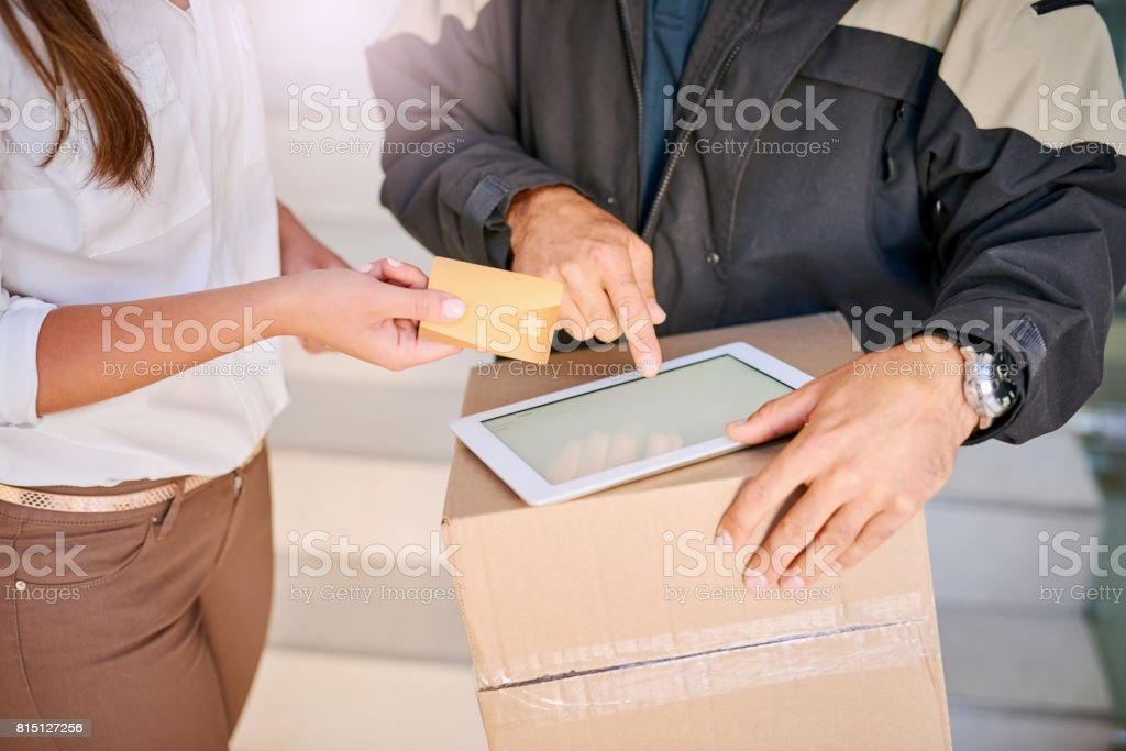 Paying by credit stock photo