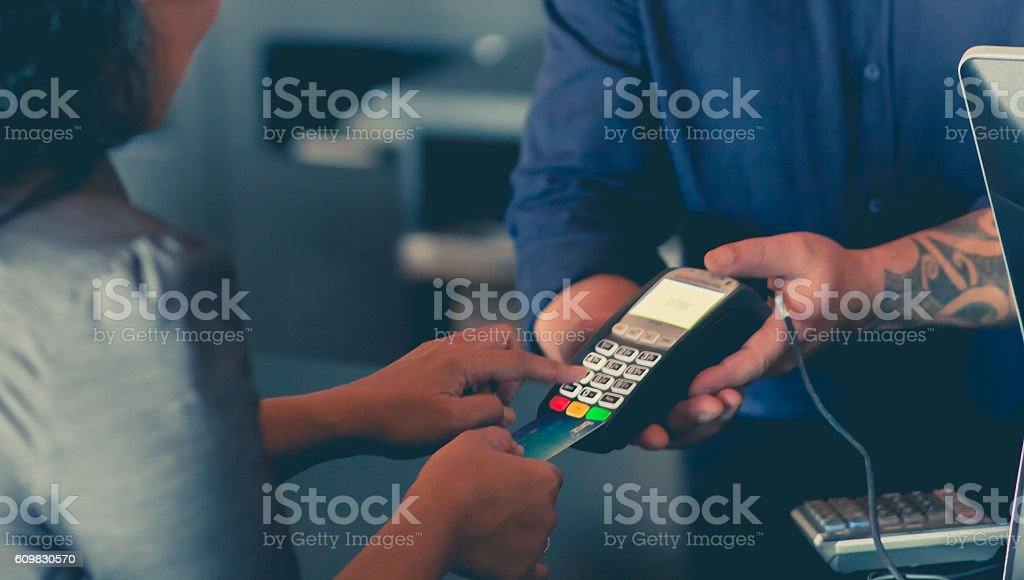 Paying By Eftpos. stock photo