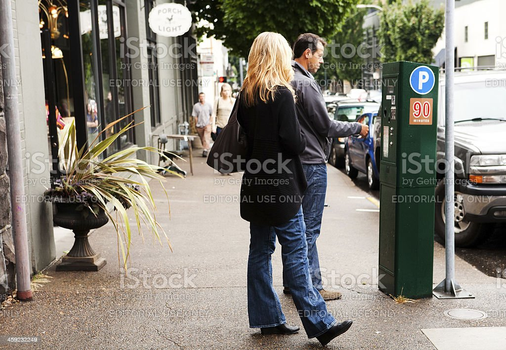 paying for parking stock photo